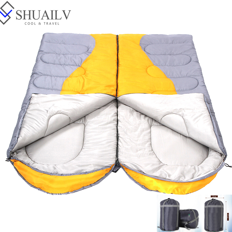 ФОТО Autumn Winter Waterproof Adult Nylon Envelop Sleeping Bag Spliced Couples Lazy Bags Keep Warm Thermic Bag Travel Sleeping Bag