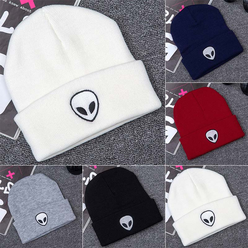 Hot Selling Winter Knitting Warm Hat Alien Embroidery Daily Slouchy Hats   Beanie   Cap Outdoor Skiing Caps -B5