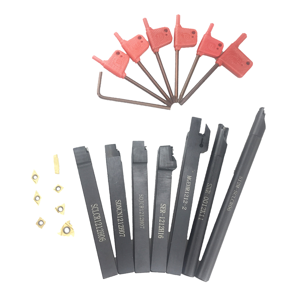 7 Set Lathe Turning Tool Holder Boring Bar + Carbide Insert Wrench Kits 5pcs 1 2 indexable turning tool insert mayitr c6 chipbreaker carbide lathe tool bit set for boring chamfering with hex wrench