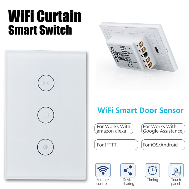 Wifi Curtain Roller Switch Wifi Electrical Blinds Switch 120 Type Wireless WiFi Wall Switch Timing Automation Phone APP