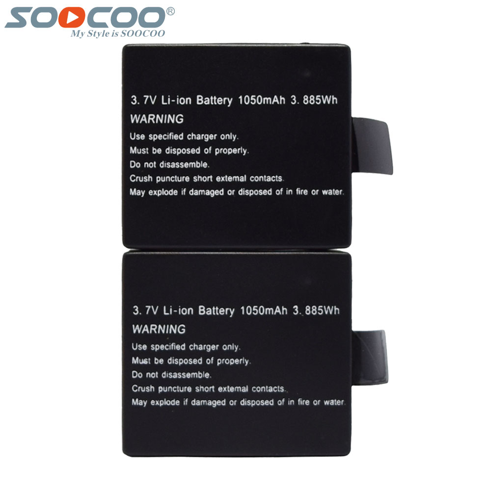 2 Pcs/Set Original SOOCOO 1050mAh 3.7V Rechargeable Li-on Batteries for C10S C30 SJ CAM 4000 SJ5000 Wifi 4K Sport Action Camera