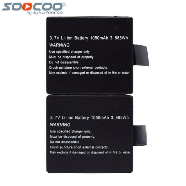 2 Unids/set SOOCOO Original 1050 mAh 3.7 V batería Recargable de Li-on de Baterías para C10S C30 SJ CAM 4000 SJ5000 Wifi 4 K de la Acción Del Deporte cámara
