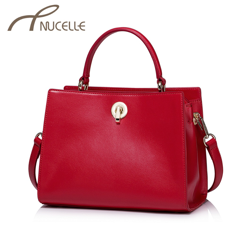 ФОТО NUCELLE Women Split Leather Handbags Ladies Fashion Lock Red Color Leather Tote Bags Female Brief Flap Crossbody Bags NZ5892