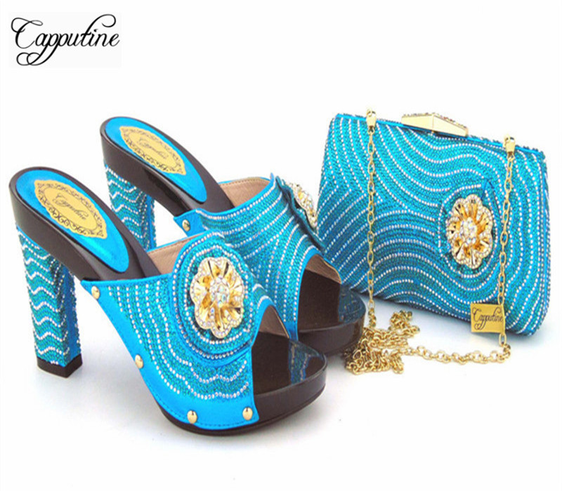 Capputine New Summer Design Rhinestone Shoes And Bag Set African Style High Heels Slipper Shoes And Bag Set For Party 11Colors