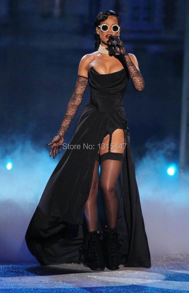 Rihanna Black Strapless Prom Gown Victorias Secret Fashion Show 2012 Celebrity Dresses1.4
