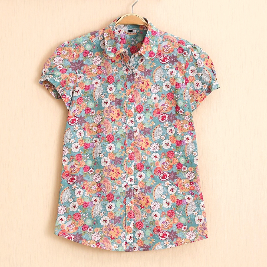 Summer Short Sleeve Beach Shirt Women Floral Blouses Print