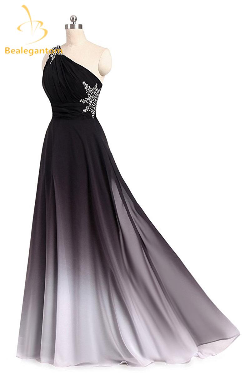 761346b0a73 Bealegantom One Shoulder Black Red Ombre Prom Dresses 2018 With