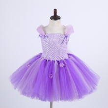 Sofia Princess Dress Lavender Girls Knee Length Flower Girl Wedding The First for Children Birthday Party Tutu