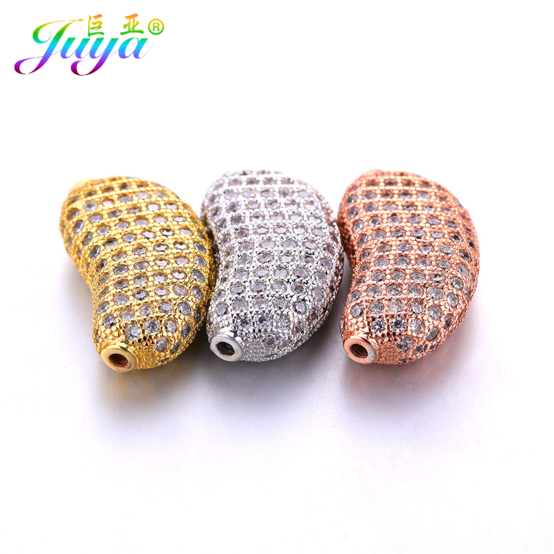 DIY Cz Rhinestones Metal Beads Micro Pave Zircon Bean Shape Copper Charm  Beads For Women Men Beads Jewelry Making Accessories-in Beads from Jewelry  ... 7329e1e2e9e6