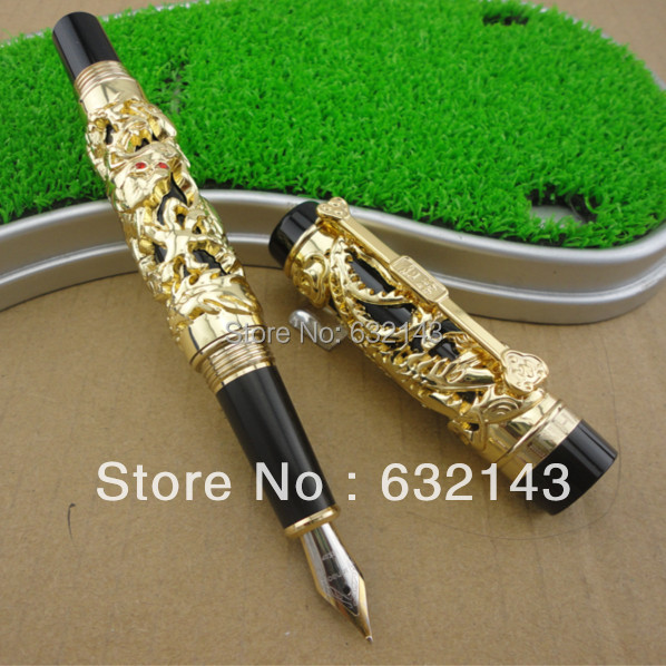 JINHAO  gold  DRAGON AND PHOENIX 18KGP M NIB FOUNTAIN PEN jinhao old grey dragon and phoenix 18kgp m nib fountain pen