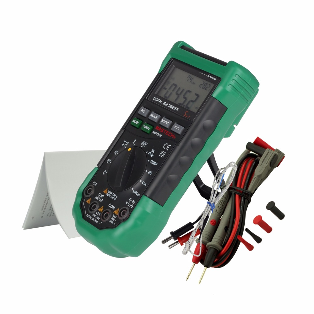 Mastech MS8229 Digital Multimeter 5 in 1 Auto-Range Tester Meter With Multi-function Lux Sound Level Temperature Humidity tester