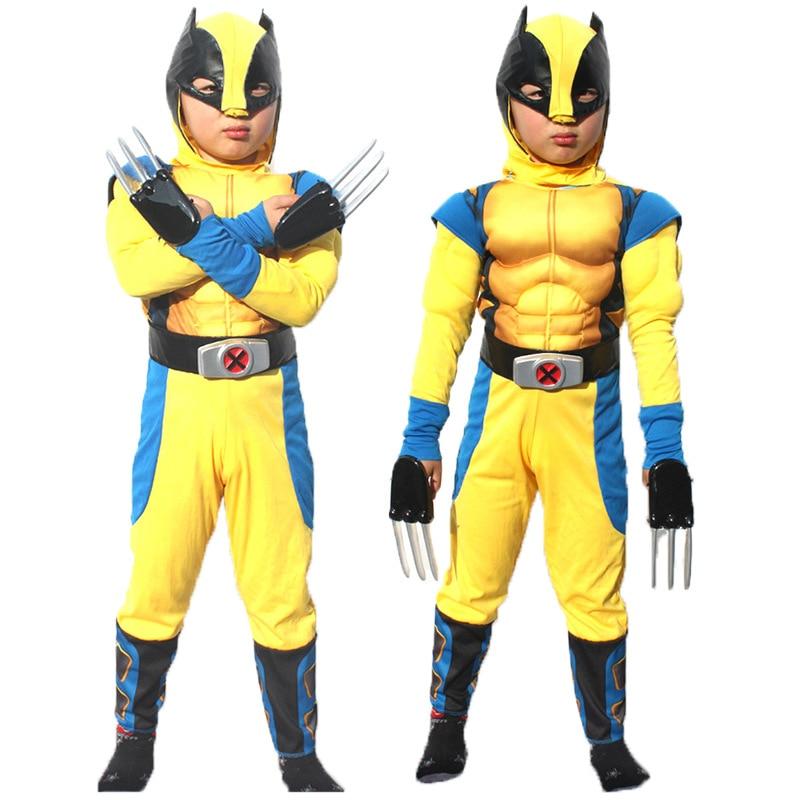 Brave Superman Hero halloween cosplay avengers costume wolverine chidren full set muscle performance clothing,mask, gloves