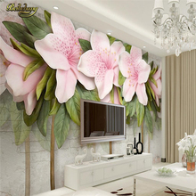 beibehang Custom Photo Wallpaper Mural Wall Stick 3D Stereo Pink Flower Leaf Brick Wall TV Background Wall papel de parede