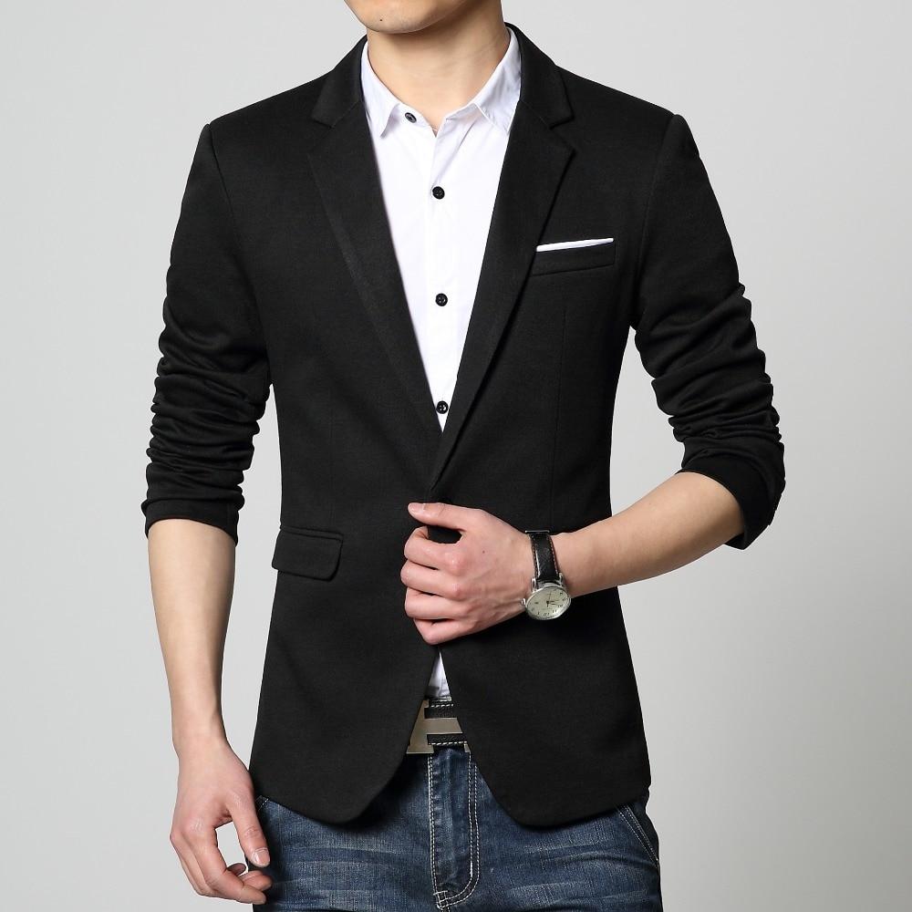 Mens Blazer long sleeve Red blue coat Black slim suit jacket ...