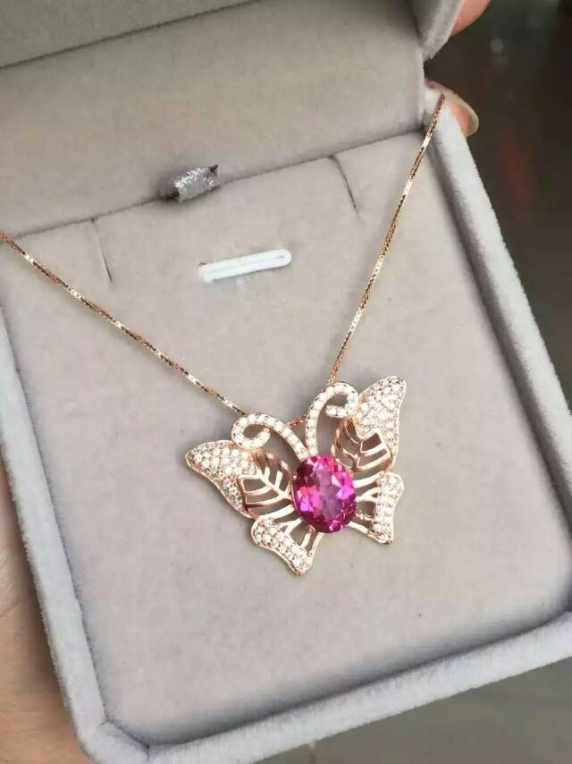 natural pink topaz stone pendant S925 silver Natural gemstone Pendant Necklace trendy Elegant big butterfly women girl jewelrynatural pink topaz stone pendant S925 silver Natural gemstone Pendant Necklace trendy Elegant big butterfly women girl jewelry