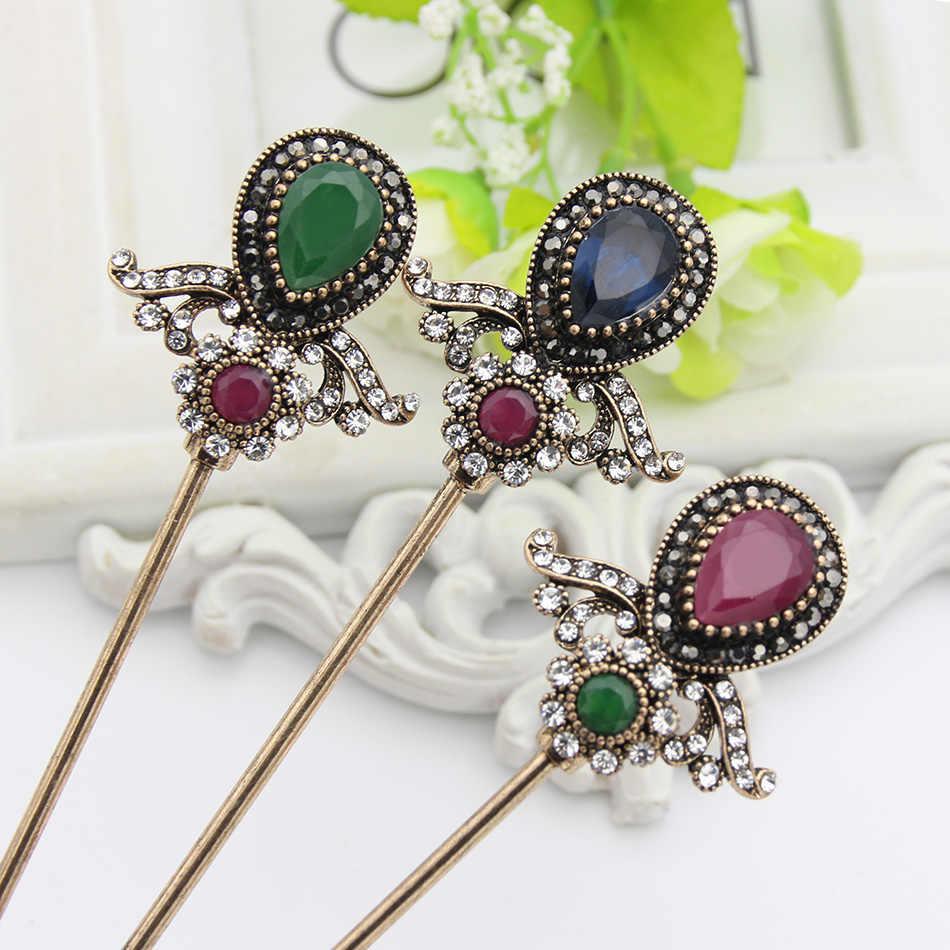 בציר תורכי נשים פרח שיער מקלות הסעודית שרף סיכת ראש תכשיטים עתיק זהב צבע הודו כלה מסרק הדוק תסרוקת גבוהה שיער אבזם