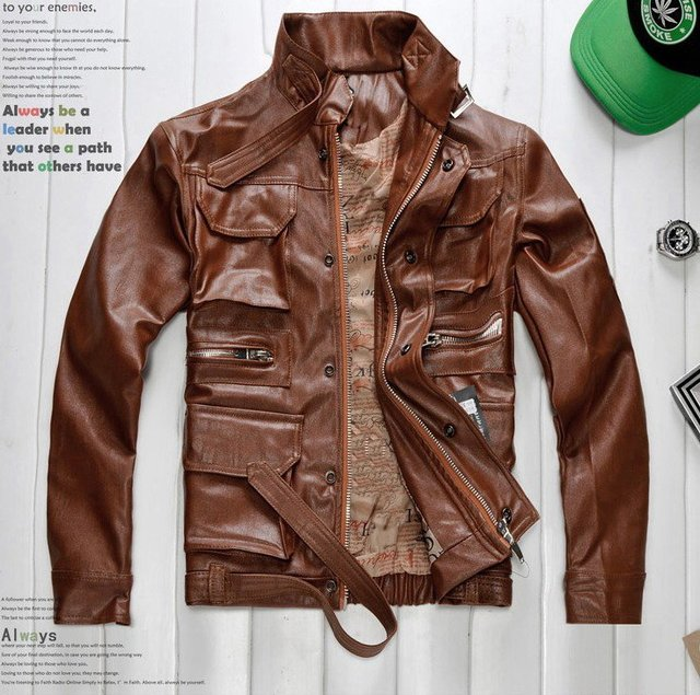 free shipping High-quality clothing men's jacket zipper EPAULET coat Motorcycle Jacket 1pcs