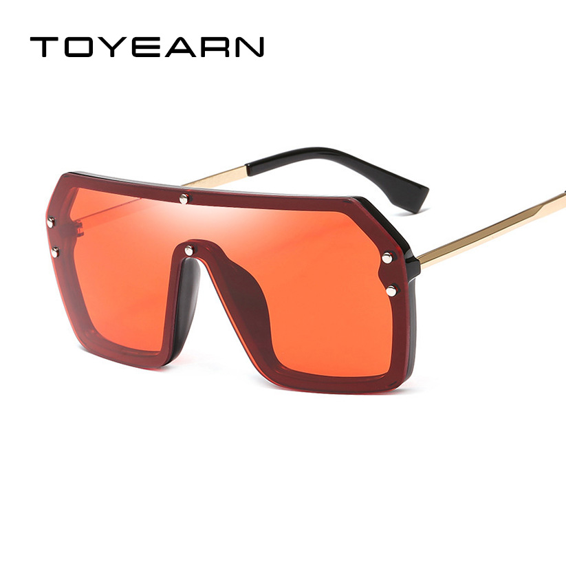 2019 New Oversize One Piece Square Rimless Sunglasses Women Men Luxury Brand Flat Top Integrated Mirror Sun Glasses For Female