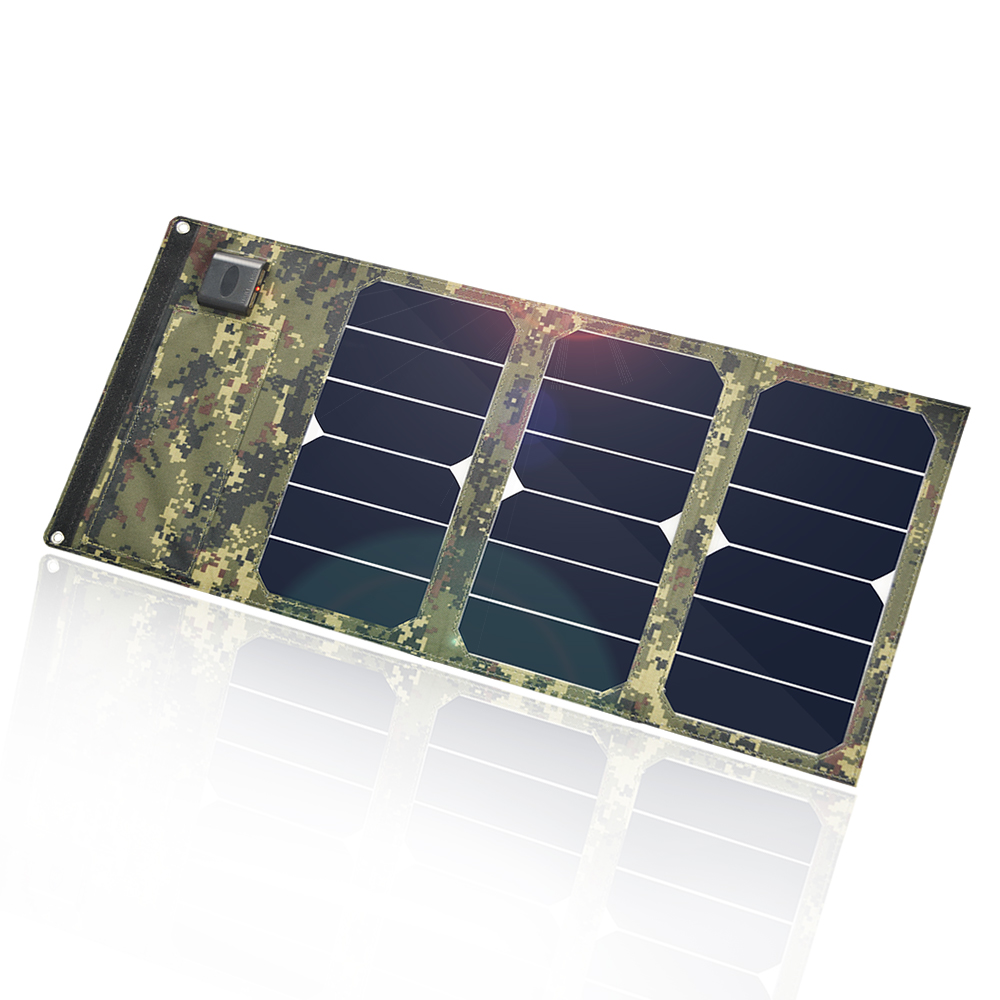 Portable camouflage colors 20W Folding Foldable Solar Panel Charger Waterproof Mobile Power Bank Phone Battery Dual USB 5V 2A