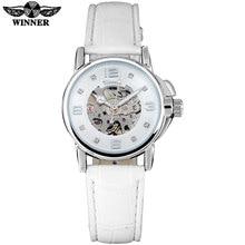 זוכה מותג נשים שעונים שלד מכאני שעון לבן להקת עור גבירותיי פשוט אופנה מזדמן שעון relogio femininos