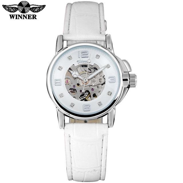 Победитель Брендовые женские часы Скелет механические часы белая кожа группа простые женские модные повседневные часы Relogio femininos