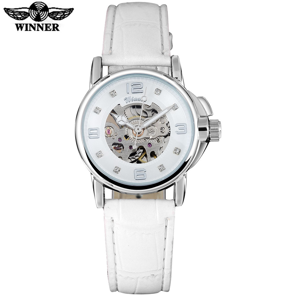 купить WINNER brand women watches skeleton mechanical watch white leather band ladies simple fashion casual clock relogio femininos по цене 1155.28 рублей