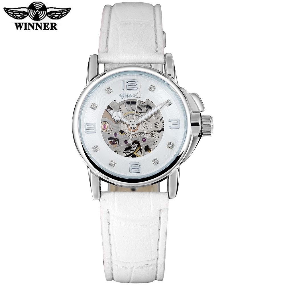 Prix pour GAGNANT marque femmes montres squelette montre mécanique blanc bande de cuir dames simple mode casual horloge relogio femininos
