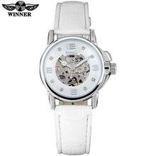 WINNER brand women watches skeleton mechanical watch white leather band ladies s
