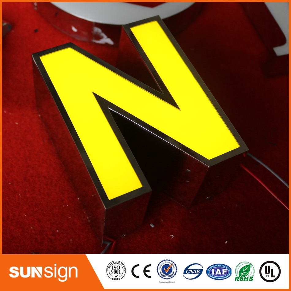 Chain Stores Acrylic Letter Surface Mirror Stainless Steel LED Channel Letter Sign