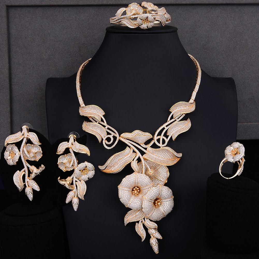 missvikki Daffodil Twig Natural Jewelry Set Full Mini Cubic Zirconia Bangle Earrings Necklace Ring Pendant Accessories Bijoux