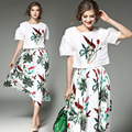 2 Pieces Suit 2017 New Spring Summer Women Set Fashion Casual Flowers Print Shirt High Waist Midi Long Skirt Plus Size