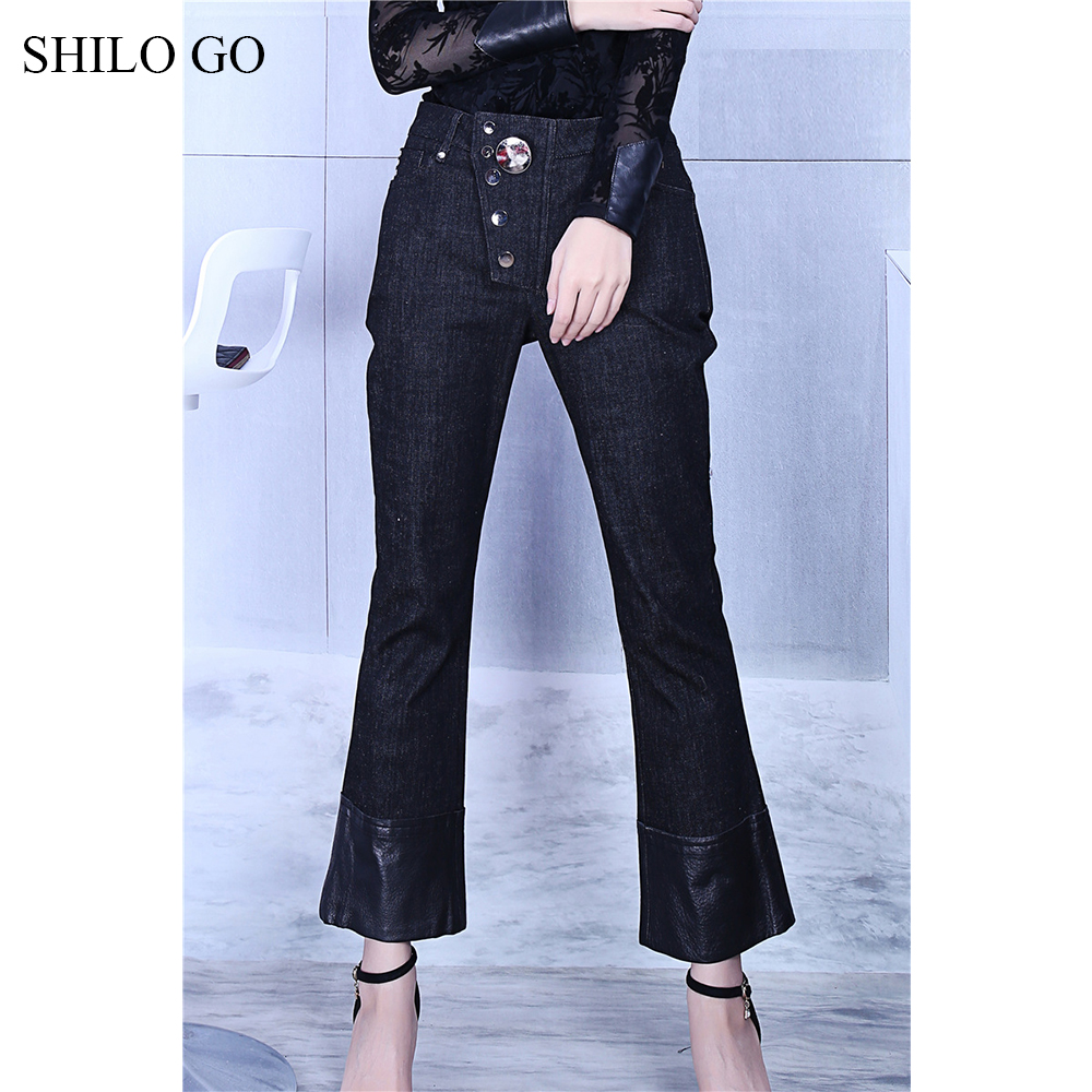 SHILO GO Leather Pants Womens Spring fashion sheepskin genuine leather Pants high waist metal button patchwork small flare jeans - 5