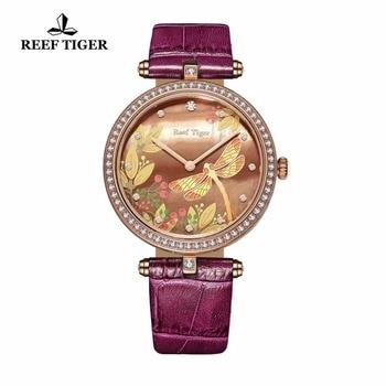 Reef Tiger Brand Fashion Watches for Women Rose Gold Diamonds Watches Reloj Mujer Leather Strap Quartz Watches Relogio Feminino lige horloge 2017