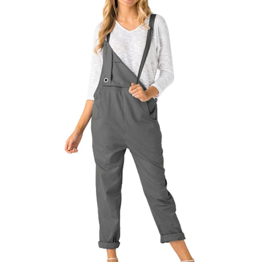 Women Loose Dungarees Loose Long Pockets Rompers Jumpsuit Pants Trousers Macacao Feminino Comprido