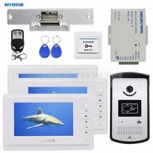 DIYSECUR Video Door Phone Video Intercom Doorbell Camera Monitor Electric Strike Lock RFID Keyfobs 1v3