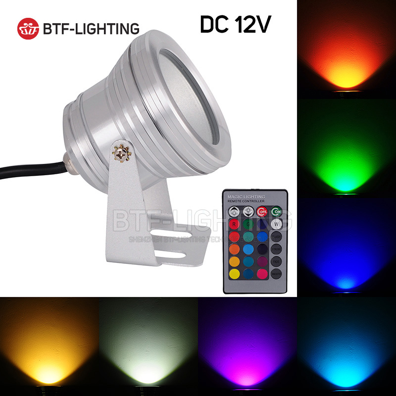 Wholesale 10W DC12V Silver LED Underwater Floodlight Light Pool landscape park lake mirror Glass Waterproof RGB/Warm/Cold/White