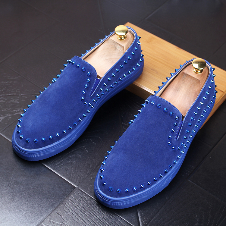 mens casual stage nightclub soft velvet leather shoes slip