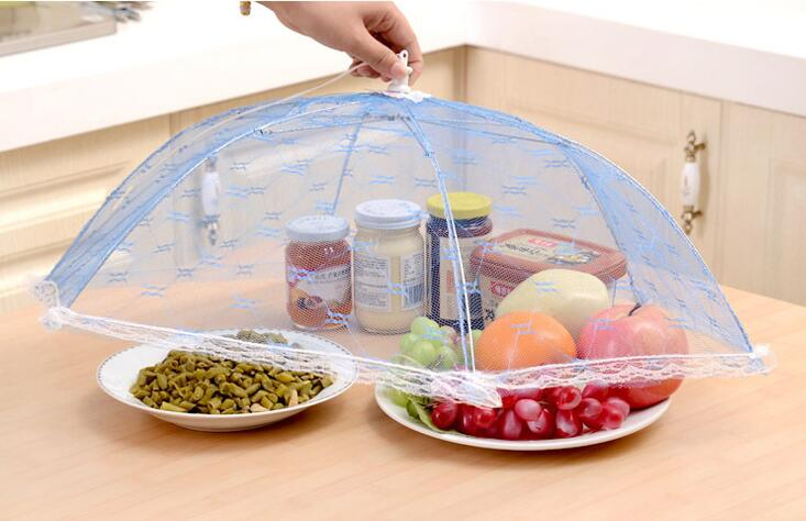 음식 커버 우산 스타일 안티 플라이 모기 주방 요리 도구 식사 커버 육각 거즈 테이블 메쉬 음식 커버