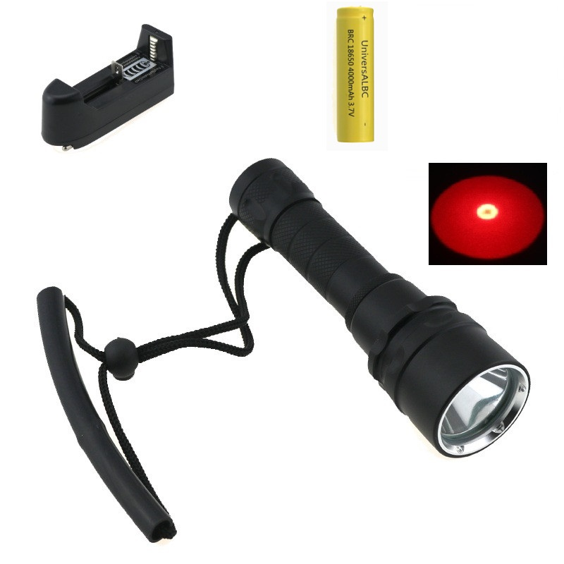 Professional Cree Q5 Red Light LED Underwater Video Light Scuba Diving Flashlight Torch Dive Lamp + 18650 Battery + EU Charger diving flashlight cree red light torch photography underwater video led flashlight 4x white 2x cree red led scuba photography