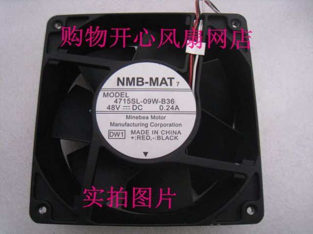NMB-MAT 4715SL-09W-B36 Server Square Fan DC 48V 0.24A 120x120x38mm 3-wire nmb mat 3110kl 04w b70 s00 dc 12v 0 38a 80x80x25mm server square fan