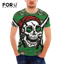 FORUDESIGNS Carribean Skull Print Punk Style Men Tshirt Teenagers Halloween Cool Pattern Short Sleeve Shirt for Males O-neck Top