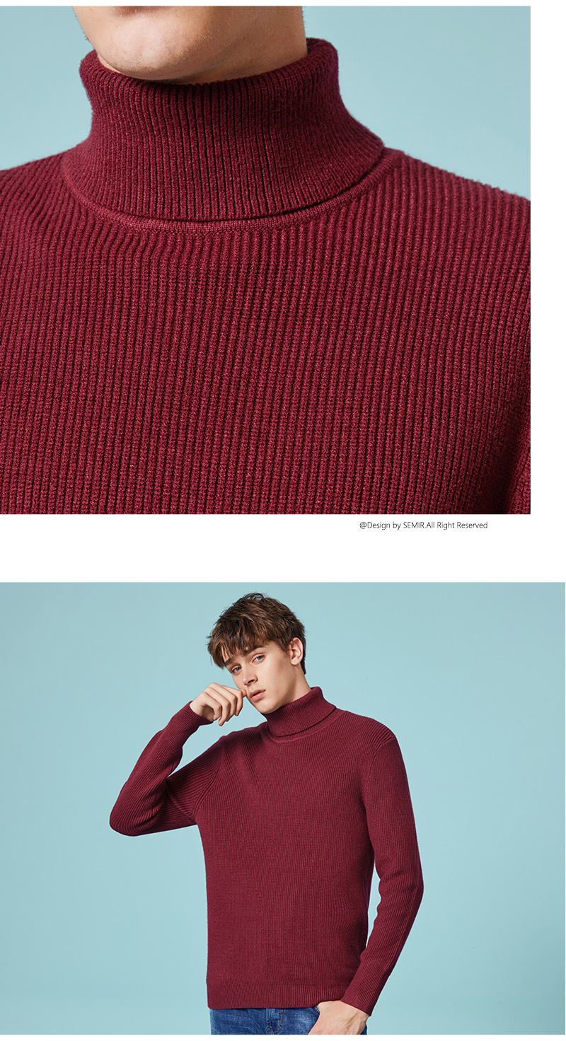 SEMIR Winter Warm Turtleneck Sweater Men Double Collar Fashion Solid Knitted Mens Sweaters 18 Casual Male Slim Fit Pullover 7