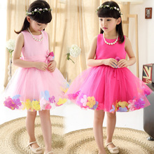 2019 summer new childrens clothing girl festival dance performance round neck bow petal princess dress