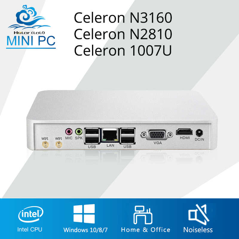 Esperanza Mini PC Intel Celeron N3150 J1900 quad-core Mini computadora Celeron N2810 Windows 10 HDMI WIFI USB TV caja de la PC de escritorio