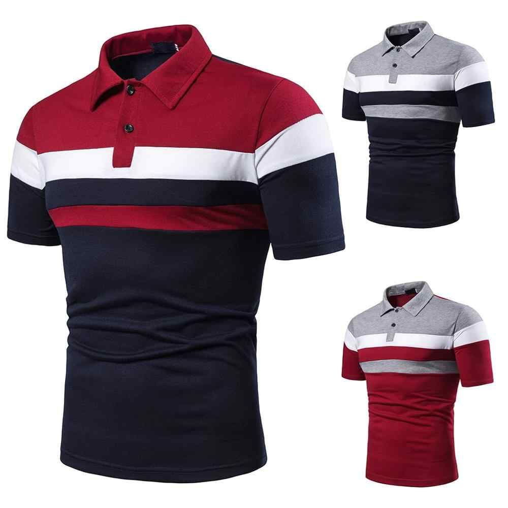 Men Summer Fashion Short Sleeve Shirt Pathwork Casual Sport Top Blouse embroidery breathable cotton Stitching polo shirt