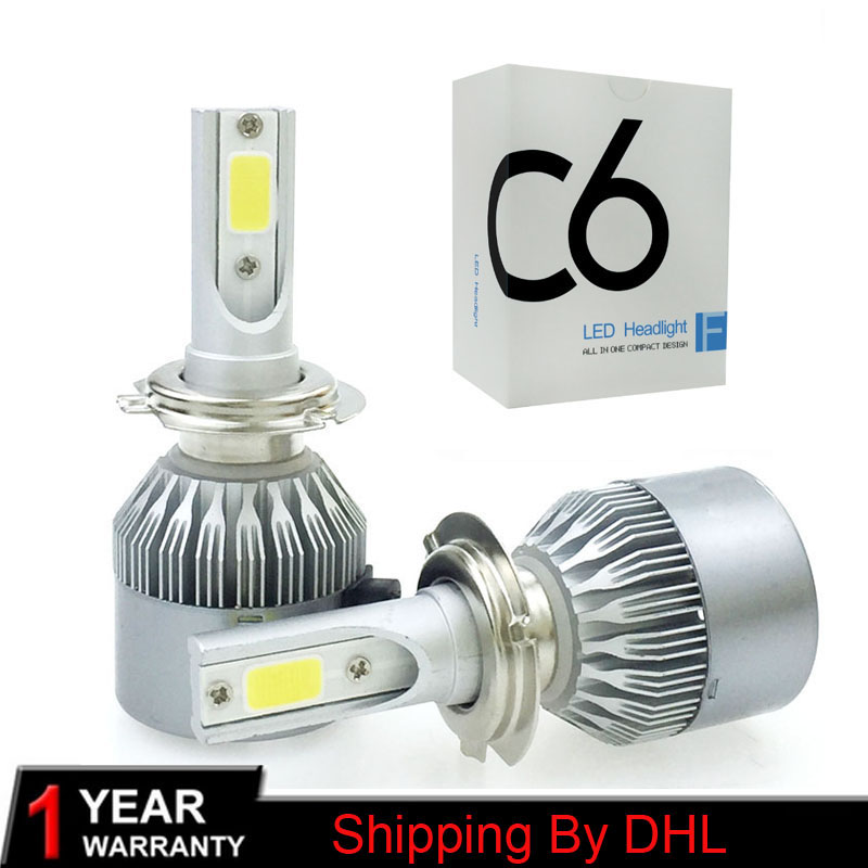 2Pcs New Arrival Car Light <font><b>C6</b></font> <font><b>LED</b></font> H4 9003 HB2 <font><b>H1</b></font> H3 H8 H11 H7 <font><b>Led</b></font> Lamp Auto <font><b>Headlight</b></font> Bulbs Headlamp 7600lm 6500k Lights image
