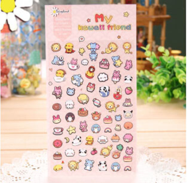 MQStyle 1Sheet Cute My Kawaii Friends Motif Washi Stickers Diary Album Stick Label Scrapbooking DIY Stickers Gift H1058