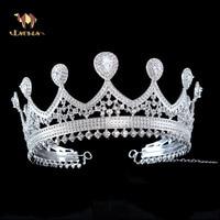 ESERES Wedding Hair Accessories Queen Crown For Women Clear CZ Adjustable Size Tiara Bridal Hair Ornaments Diadem