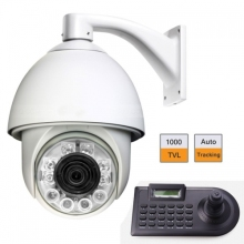 6″ 1000TVL Auto Tracking High Speed Dome PTZ Camera w/ 4 Axle Keyboard Controller