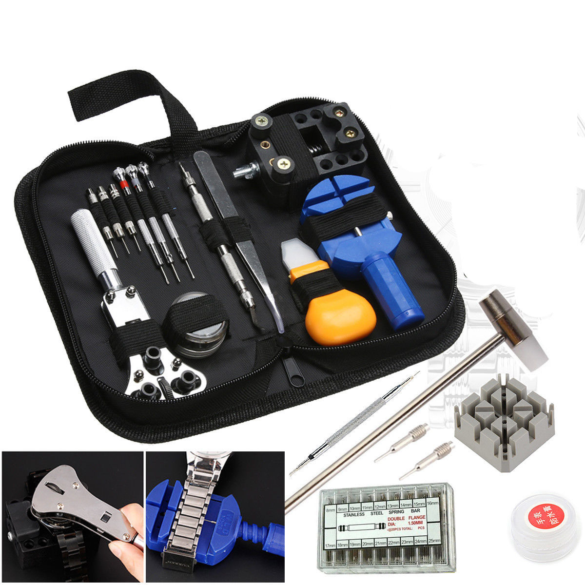 380Pcs Watch Repair Tool Kit Watchmaker Back Case Opener Remover Spring Pin Bars380Pcs Watch Repair Tool Kit Watchmaker Back Case Opener Remover Spring Pin Bars